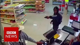Video Moment mexican 'cowboy' stopped armed robbery - BBC News MP3, 3GP, MP4, WEBM, AVI, FLV Desember 2018