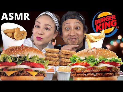 ASMR BURGER KING WHOPPER, ONION RINGS, CHICKEN NUGGETS, FRIES| BURGER KING MUKBANG|EATING SOUNDS