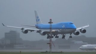 Storm B747 KLM rocking in on its final approach. As the gear is on the tarmac the wind blows against the left side of the plane, the Right side tilts over and the engines narrowly escape from hitting the tarmac.  Thanks for watching i hope you liked it if so do not forget to rate comment or share the video, may thanks 17Splinterhttps://www.planespotters.net/airframe/Boeing/747/24201/PH-BFE-KLM-Royal-Dutch-AirlinesH-BFE KLM Royal Dutch Airlines Boeing 747-406(M) - cn 24201 / 763Airframe DetailsConstruction Number (MSN) 24201Line Number 763Aircraft Type Boeing 747-406(M)First Flight 22. Dec 1989Age 26.0 YearsTest registration N6046PAirframe Status Active