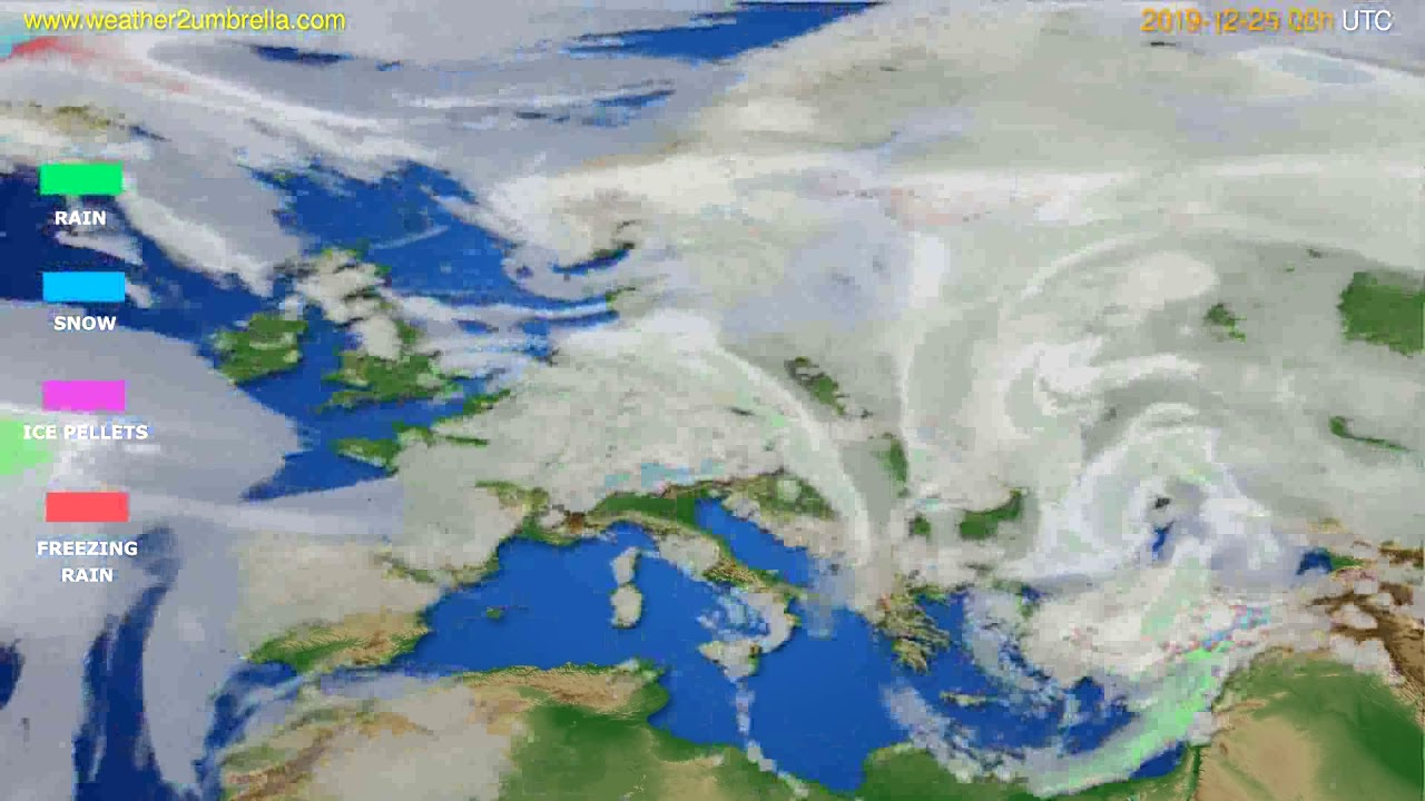 Precipitation forecast Europe // modelrun: 00h UTC 2019-12-24
