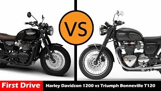 7. Harley Davidson Sportster 1200 vs Triumph Bonneville T120 ,Compare and specs |First Drive|