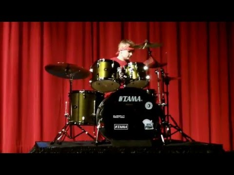 "Amazing AC/DC ""Back in Black"" drum cover by Tommy Marcus (5th Grade) Talent Show"