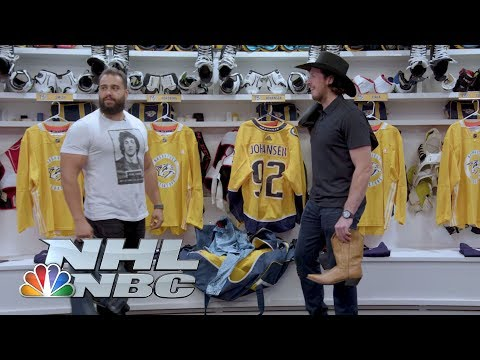 Video: WWE's Rusev and Lana turn Predators' Johansen, Josi into WWE Superstars I NHL I NBC Sports