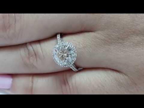 2 Carat H VVS2 Round Natural Diamond Engagement Halo Ring 14K White Gold CT 2.00