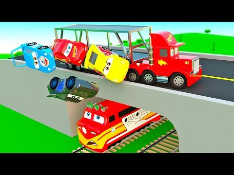 Cars Stories for Kids, Mack Transporter Truck train hit, McQueen Friends in Trouble, Police Chase