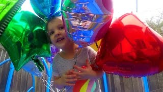 Toddler having fun learning colors with colorful helium balloons! Blowing up Frozen Elsa & Anna, Spiderman, Trolls, Stars, Hearts, Smiley Face, and Princess balloons!
