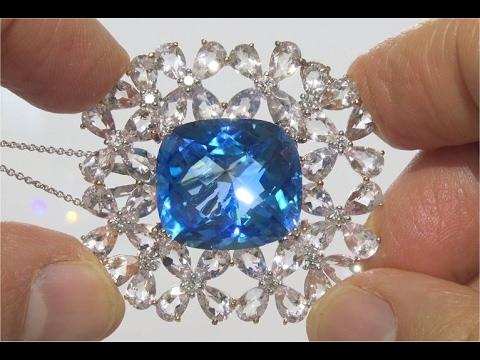 CERTIFIED Natural London Blue Topaz Morganite & Diamond 18k White Gold Pendant Necklace - C933