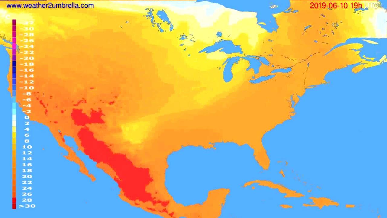 Temperature forecast USA & Canada // modelrun: 12h UTC 2019-06-07