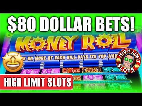 HIGH LIMIT SLOTS $80 Max Bet on MONEY ROLL SLOT MACHINE @ Harrah's Northern California