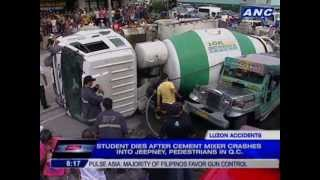 Nonton Student dies after cement mixer crashes into jeepney, pedestrians in Quezon City Film Subtitle Indonesia Streaming Movie Download