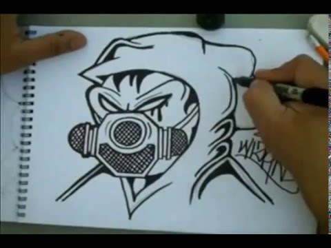 how to draw Gas Mask graffiti character by Wizard