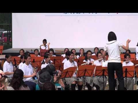 八尾久宝寺中学校吹奏楽部♪Let'sSwing「八尾河内音頭祭り2014」