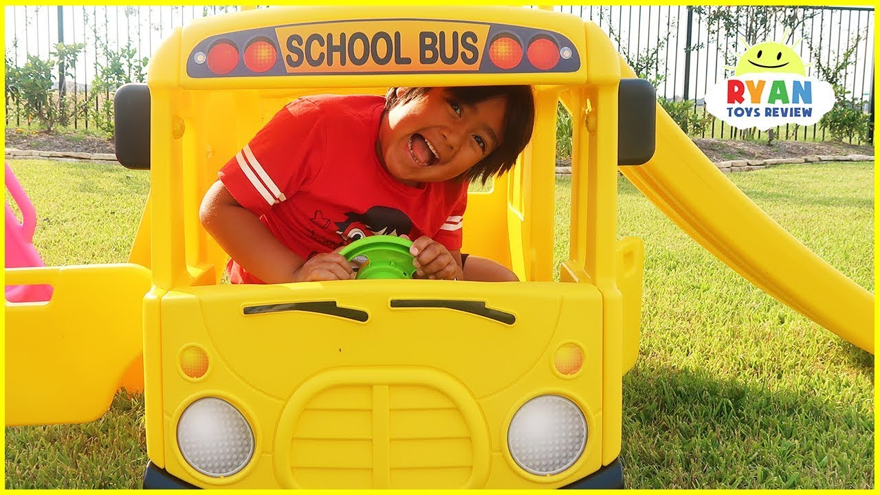 Ryan Pretend Play with School Bus and Sing a song!!! - YouTube