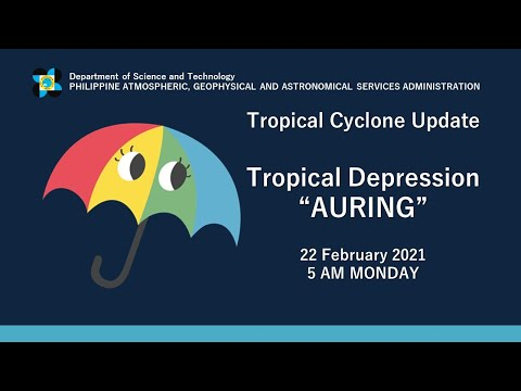 "Press Briefing: Tropical Depression ""#AURINGPH"" Monday, 5 AM February 22, 2021"