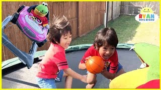 Kids Playtime chasing with Gus The Gummy Gator Pretend Play! Family Fun Trampoline Jumping