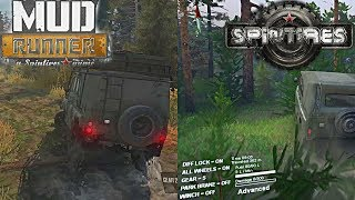 Spin Tires vs SpinTires: Mud Runner | Side by Side Comparison, Max Settings, Full HD