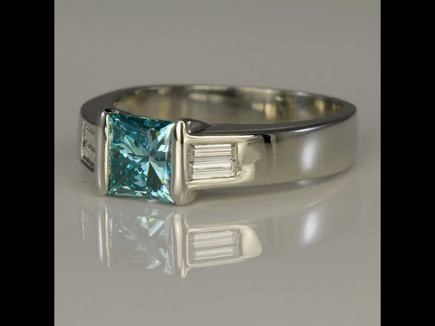 Blue Diamond Ring 1.20 Carat Princess Cut