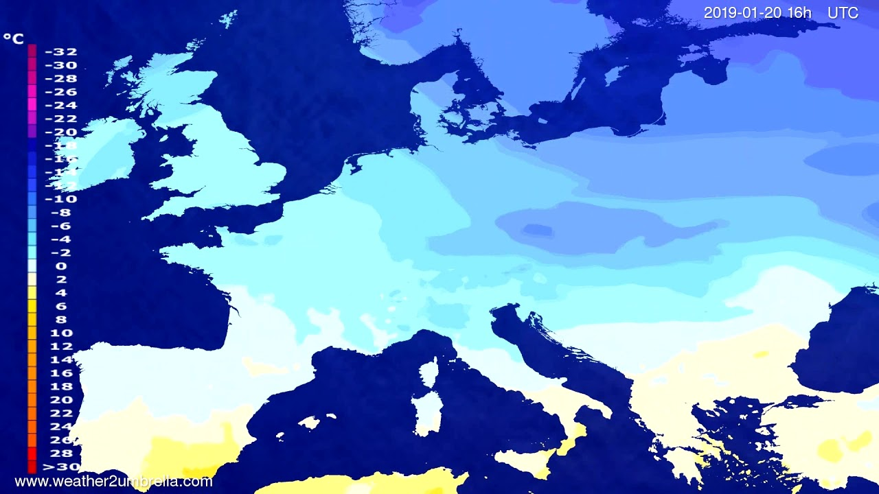 Temperature forecast Europe 2019-01-16