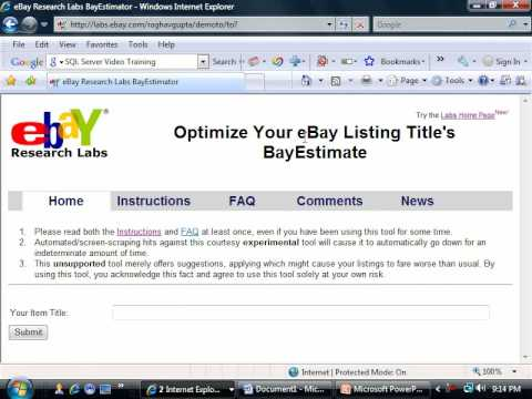 How to sell on ebay - Using BayEstimator and Search Engines