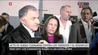Acto de Unidad Ciudadana contra los tarifazos y el desempleo