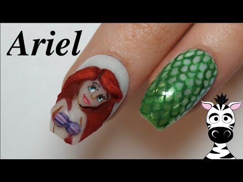 Acrylic nails - 3D Ariel Acrylic Nail Art Tutorial  The Little Mermaid