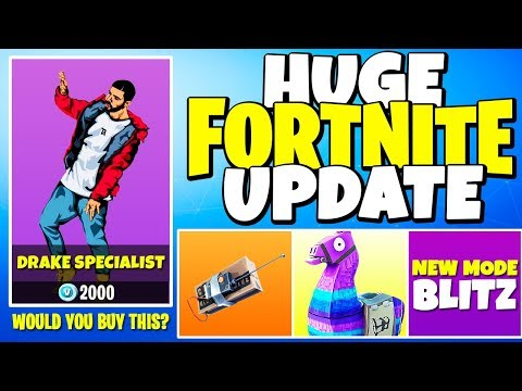 DRAKE Plays FORTNITE, LLAMA Supply Drops, New GAME MODE (HUGE PATCH UPDATE)