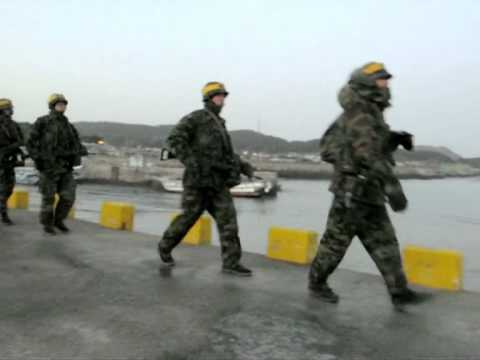 South Korean marines patrol bombed island
