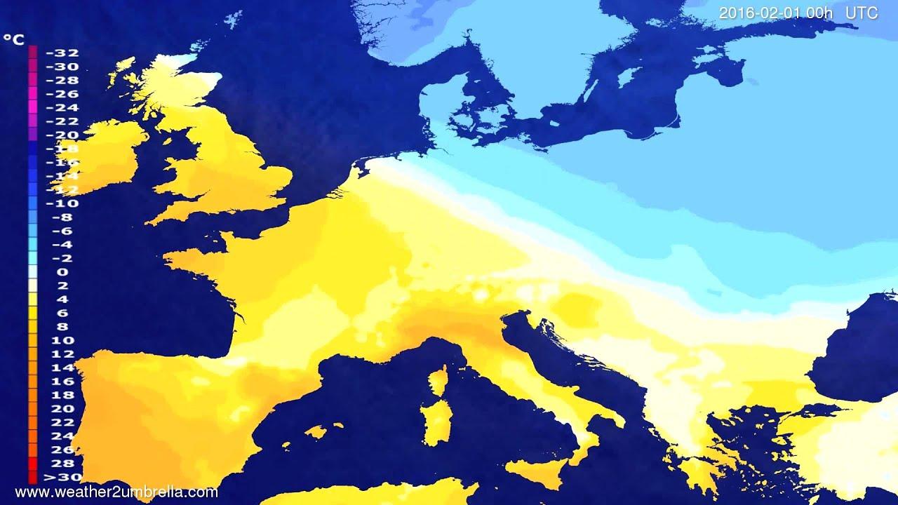 Temperature forecast Europe 2016-01-29
