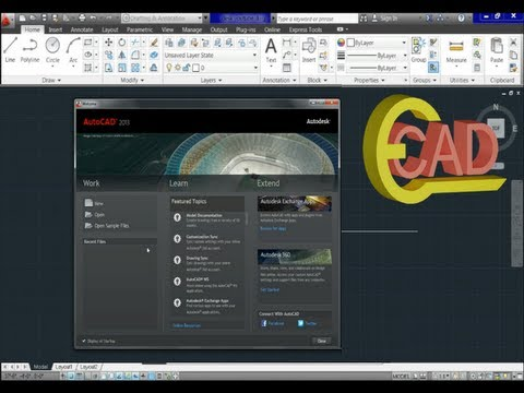 Learning Autocad 2013 Tutorial 1: AutoCAD Introduction.