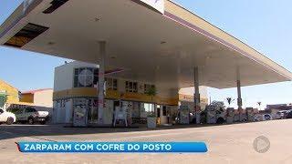 Criminosos usam retroescavadeira para roubar posto de combustíveis