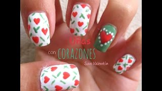 Uñas con Corazones/ San Valentin - YouTube