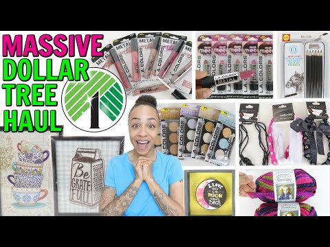 MASSIVE DOLLAR TREE HAUL! BRAND NEW MAKEUP NEW DECOR AND SO MUCH MORE! (видео)