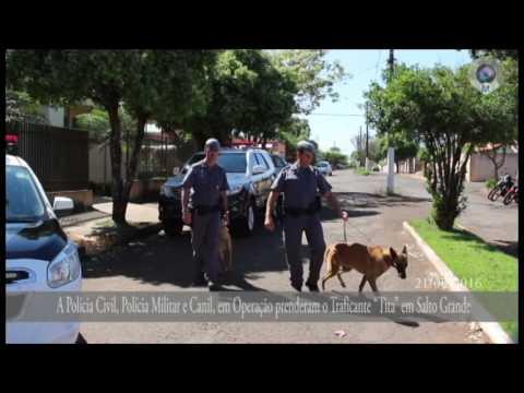 """A Polícia Civil, Polícia Militar e Canil, em Operação prenderam o Traficante """"Tita"""" em Salto Grande"""