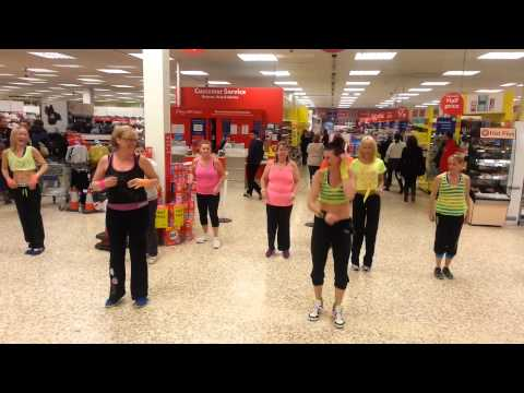 TESCO Zumba Flash mob Moves like Jagger & Cha Cha slide