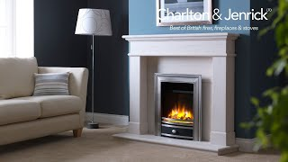 """Ecoflame 3D 16"""" Electric fire shown with logs in chrome Elite fascia"""