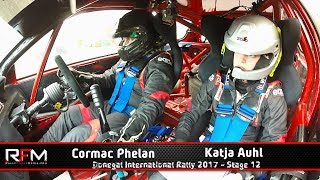 Cormac Phelan (Driver) and Katja Auhl (Navigator) in their Honda Civic on Stage 12 of the Donegal International Rally 2017. Upload Footage courtesy of Rally Focus Media.