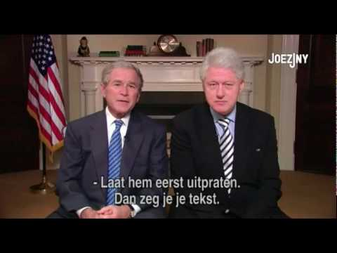 George Bush and Bill Clinton ad about Haiti funny
