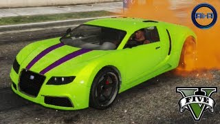 "GTA 5 - ""BUGATTI VEYRON"" - STUNTS, CUSTOMIZATION&CARS GAMEPLAY! (Grand Theft Auto V ADDER Car)"