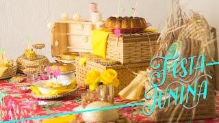 Receitas e decoração de festa junina fáceis e rápidas: tem canjica, pudim de milho, milho cozido e a montagem da mesa, com...