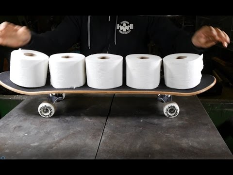 How to make skateboard from toilet paper using hydraulic press (видео)