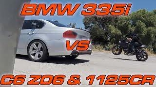 Full Bolt on BMW 335i vs C6 Z06 vs Buell 1125CR