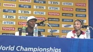Veronica Campbell Brown, Allyson Felix, And Carmelita Jeter Press Conference After 2011 Worlds 200m