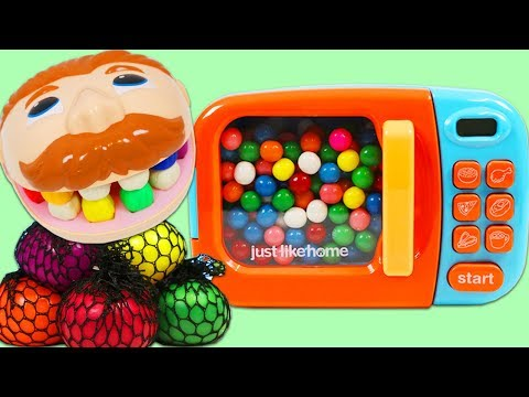 Mr. Play Doh Head Eats Color Changing Mesh Balls & Visits Dr. Drill N Fill!