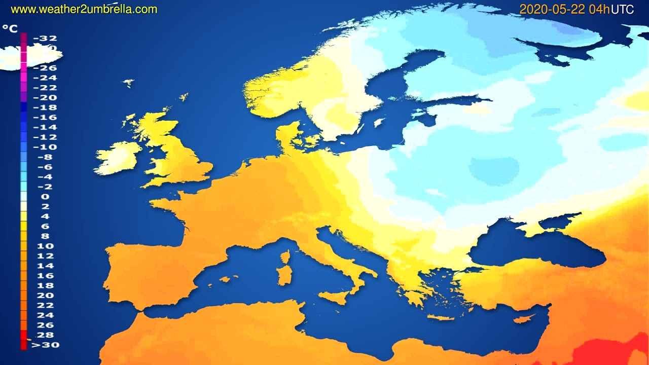 Temperature forecast Europe // modelrun: 12h UTC 2020-05-21