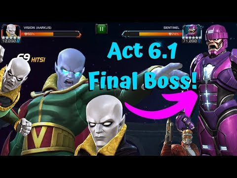 Vision Aarkus vs Act 6.1 Final Boss Sentinel! - Marvel Contest of Champions