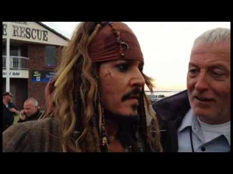 Meeting Johnny Depp as Captain Jack Sparrow - POTC5 Raby Bay Qld. 3/6/15