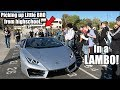 Picking up little bro from High School in LAMBORGHINI!