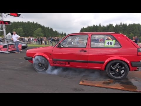 600HP VW Golf 2 VR6 TURBO Vs Audi R8 V10 Vs Mercedes ML63 AMG