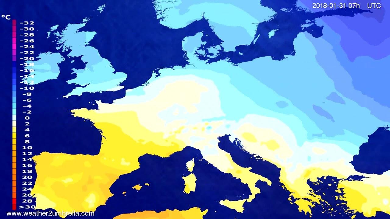 Temperature forecast Europe 2018-01-27