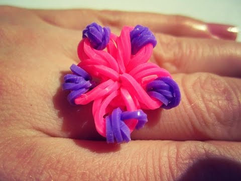 Плетение из резинок кольца цветок